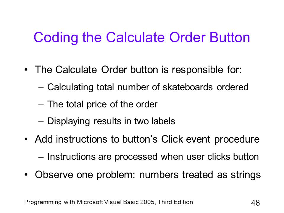 Coding the Calculate Order Button