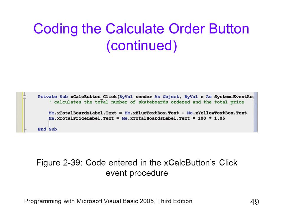 Coding the Calculate Order Button (continued)