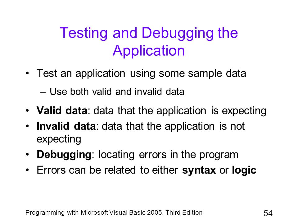 Testing and Debugging the Application