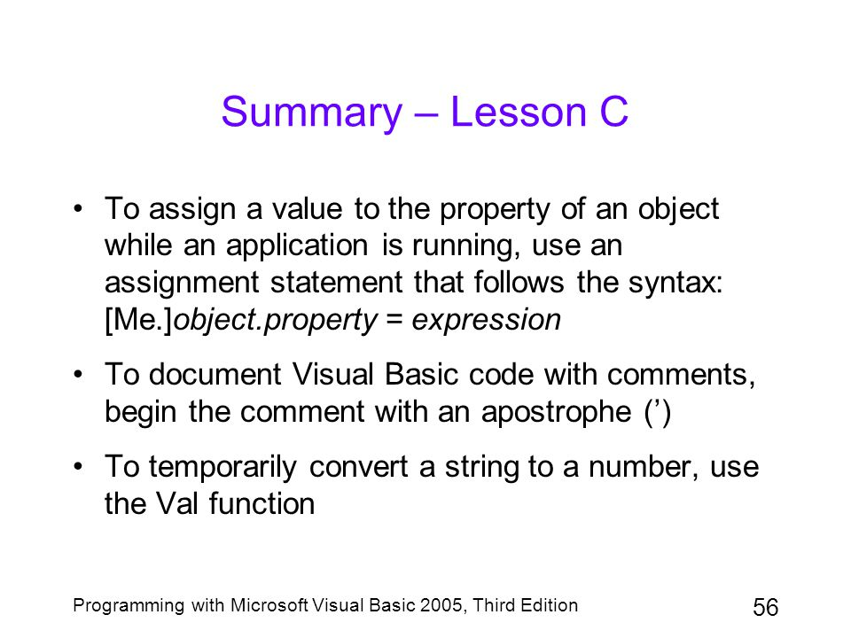 Summary – Lesson C