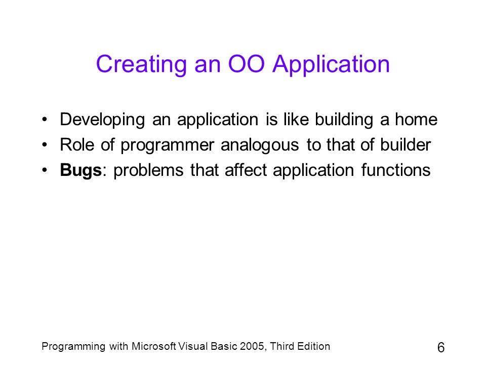 Creating an OO Application