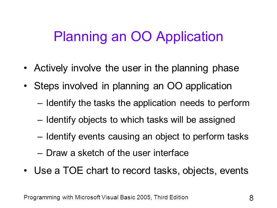 Planning an OO Application