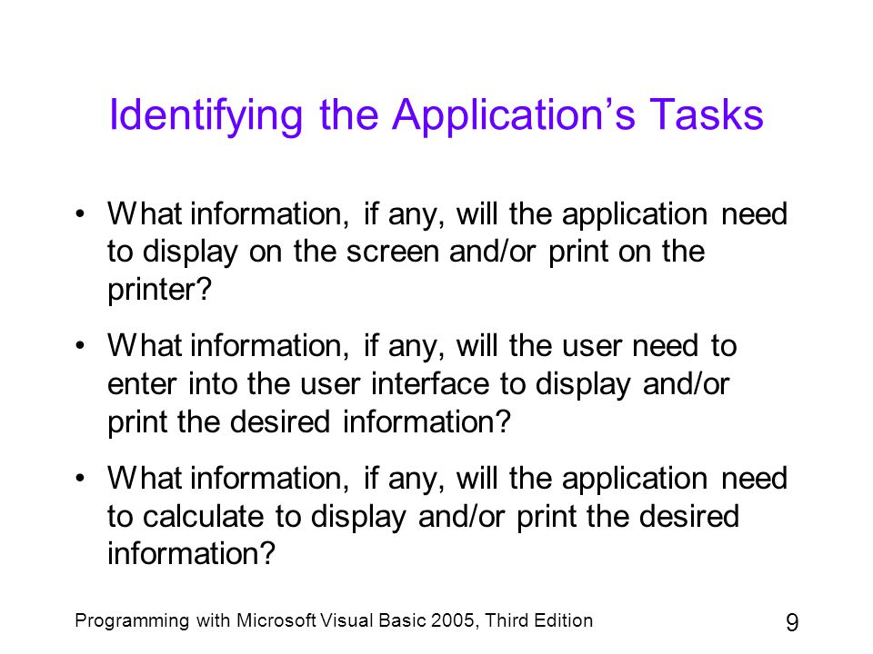 Identifying the Application's Tasks