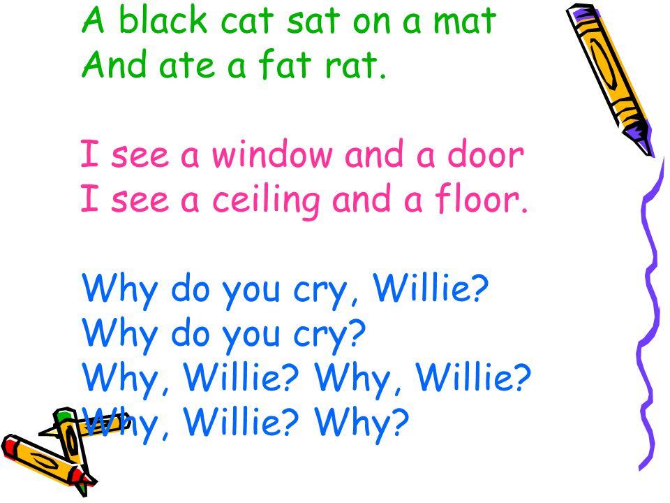 A black cat sat on a mat And ate a fat rat