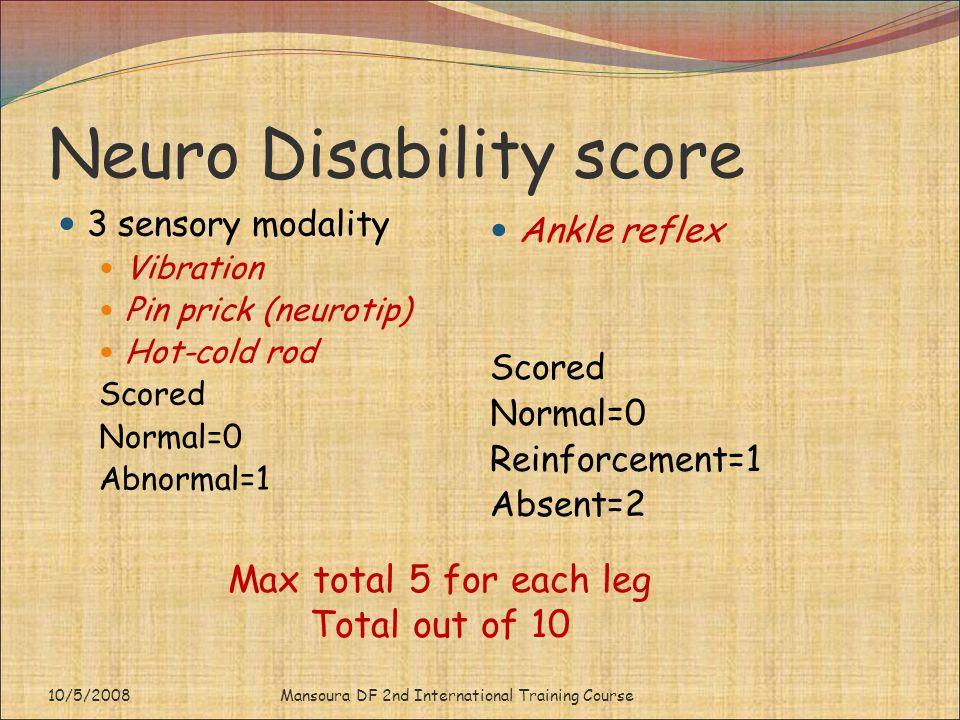 Neuro Disability score