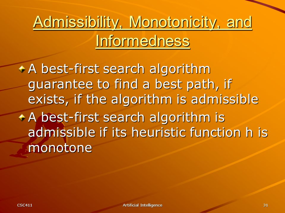 Admissibility, Monotonicity, and Informedness