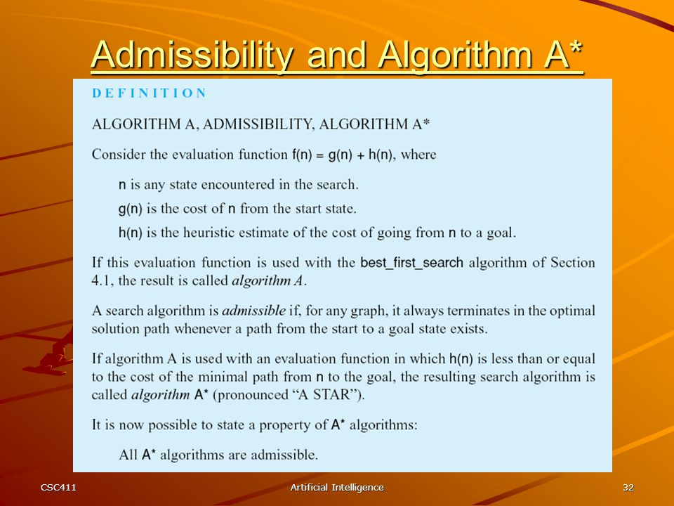 Admissibility and Algorithm A*