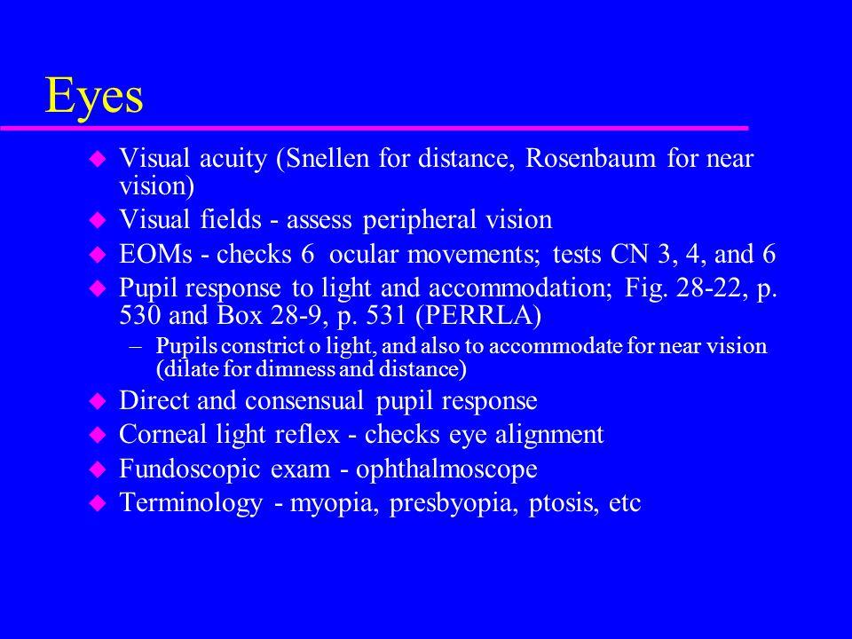 Eyes Visual acuity (Snellen for distance, Rosenbaum for near vision)