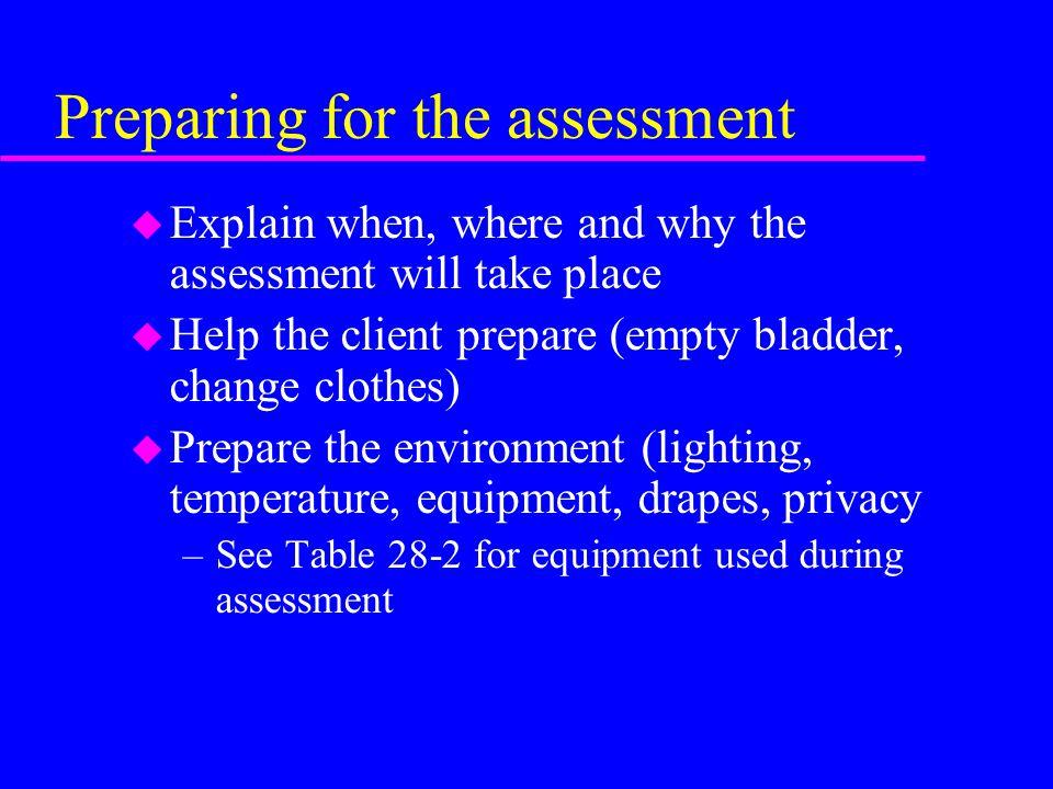 Preparing for the assessment