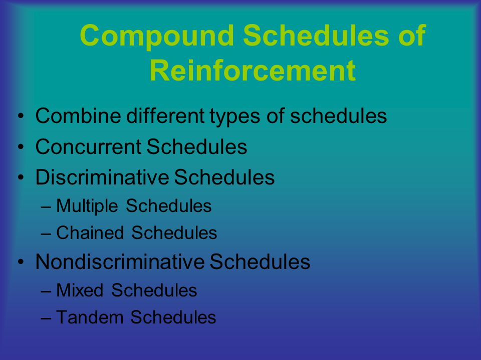 Compound Schedules of Reinforcement