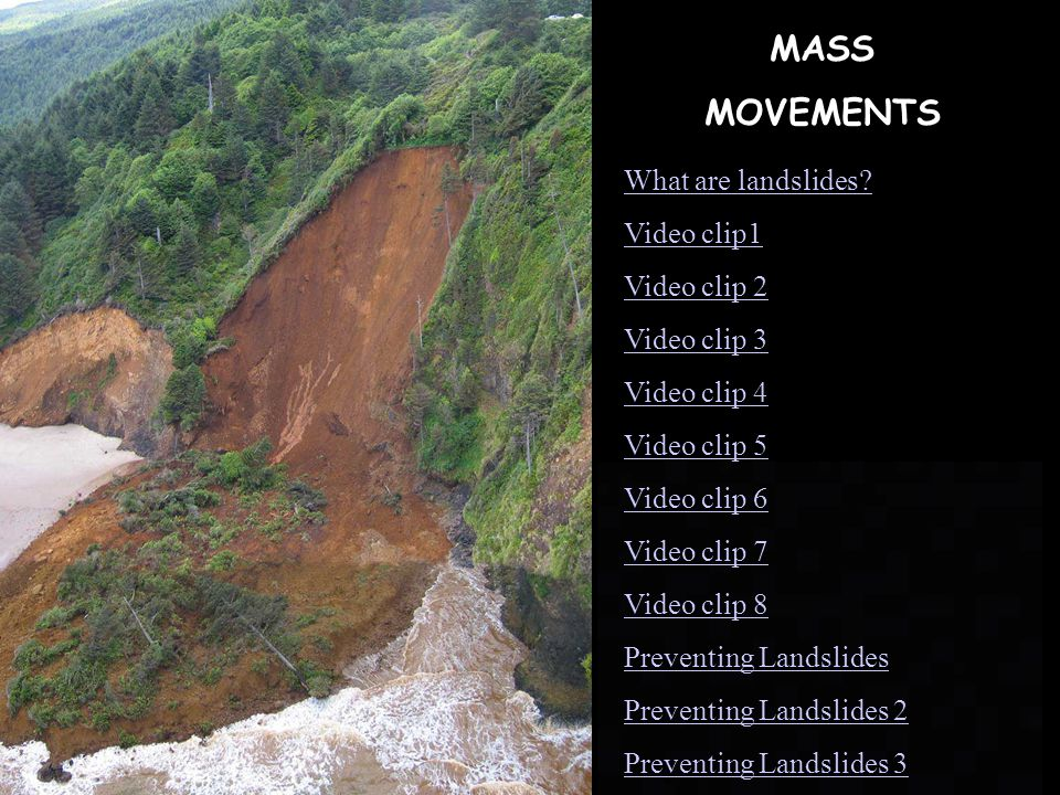 MASS MOVEMENTS What are landslides Video clip1 Video clip 2