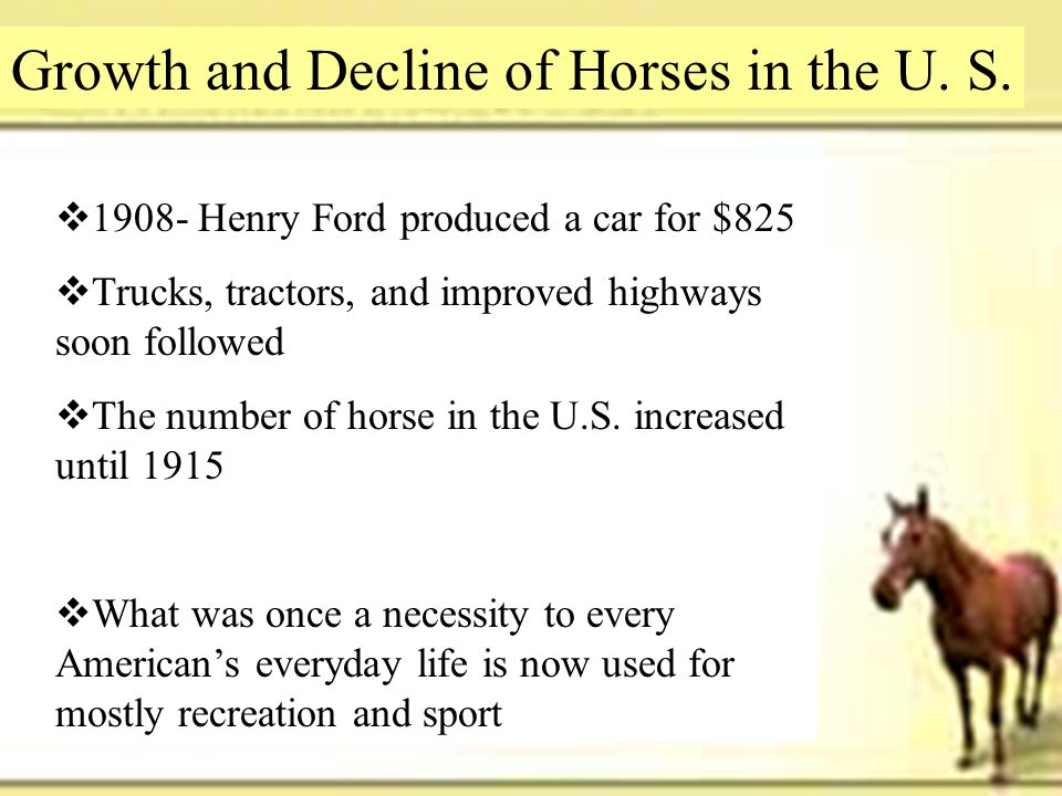 Growth and Decline of Horses in the U. S.