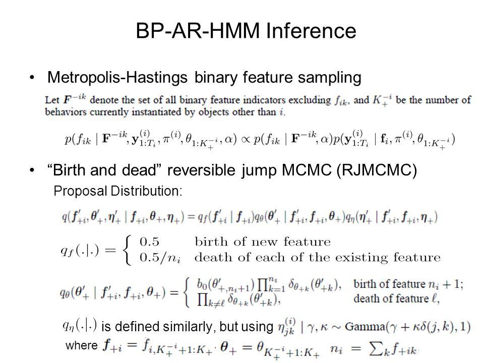 BP-AR-HMM Inference Metropolis-Hastings binary feature sampling