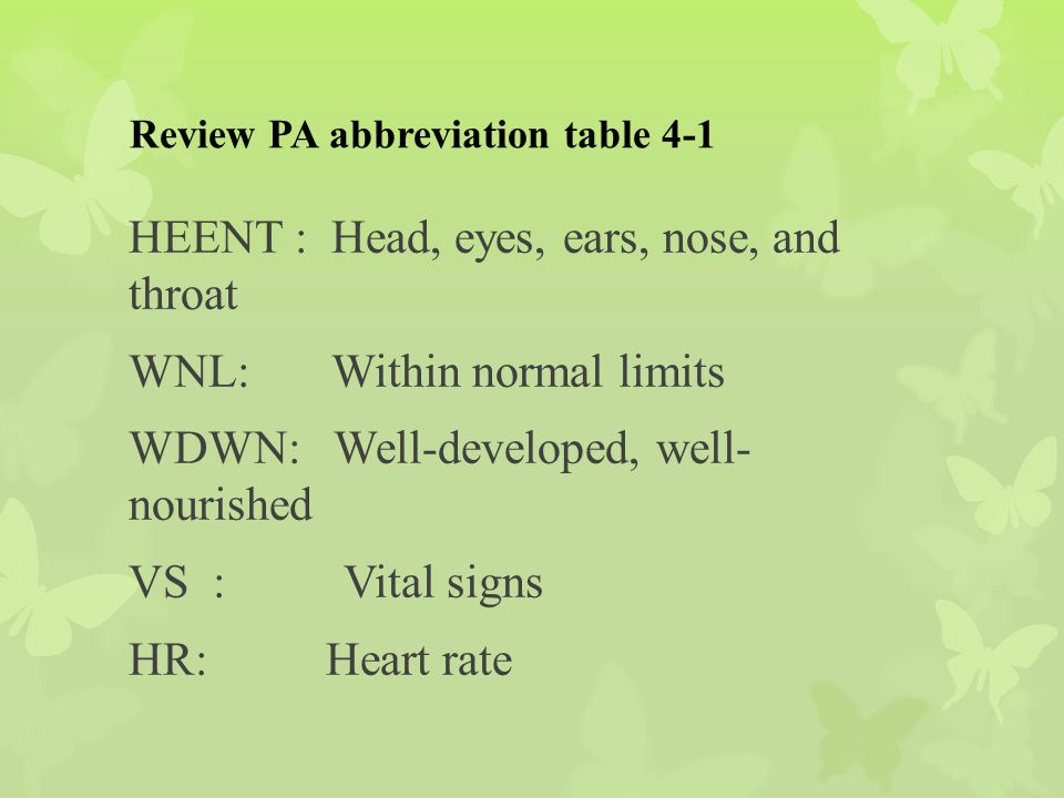 Review PA abbreviation table 4-1