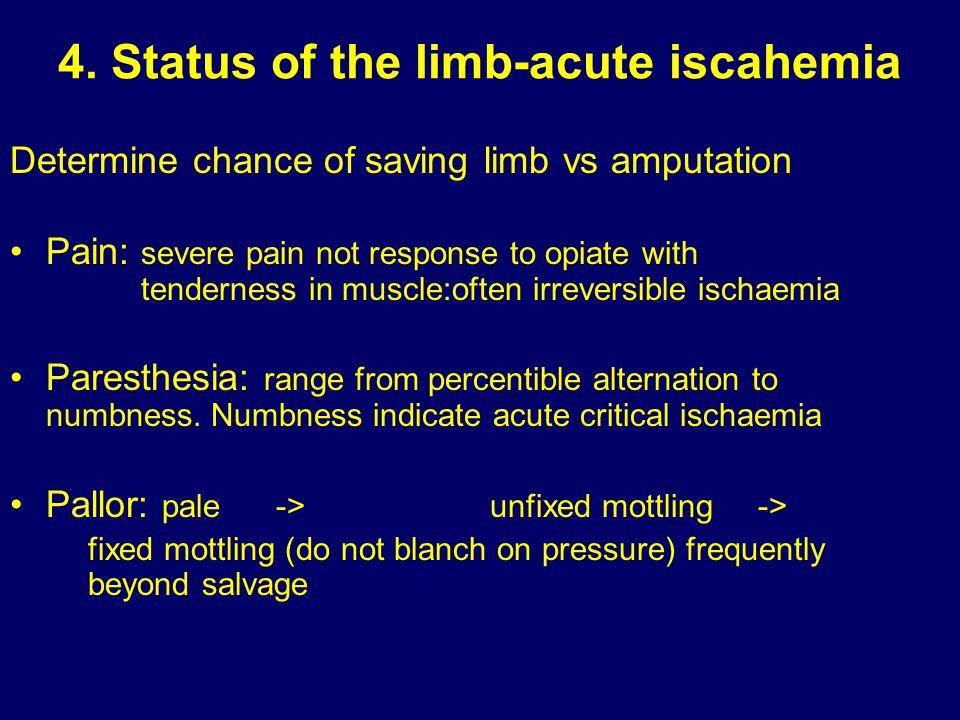 4. Status of the limb-acute iscahemia