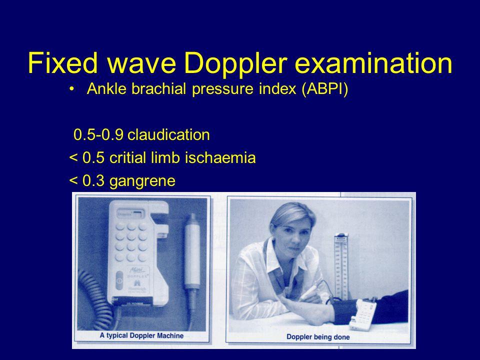 Fixed wave Doppler examination