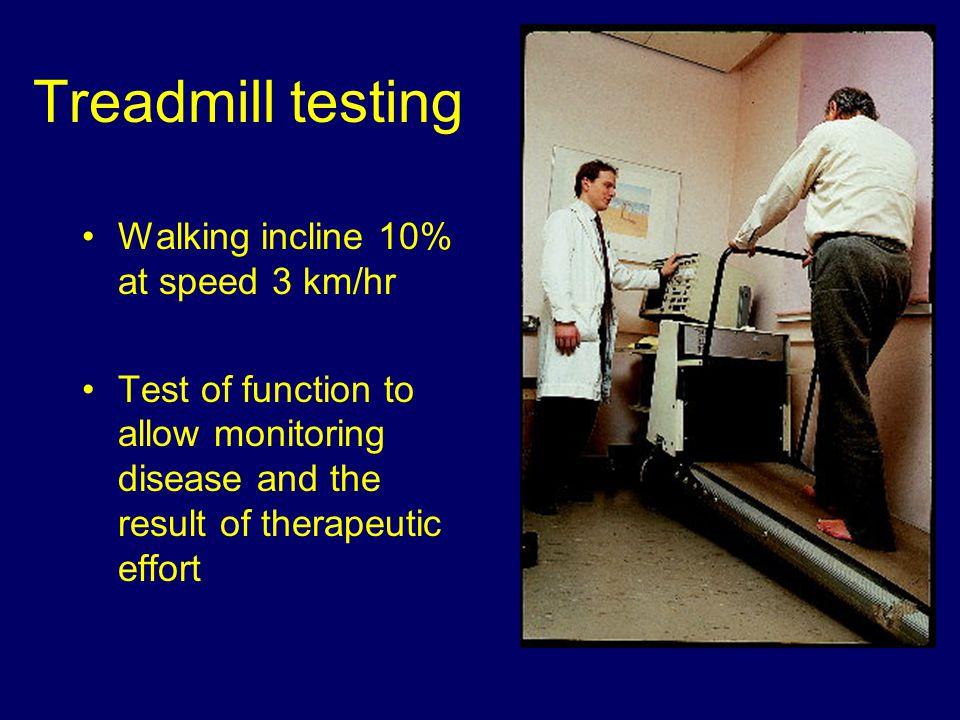 Treadmill testing Walking incline 10% at speed 3 km/hr