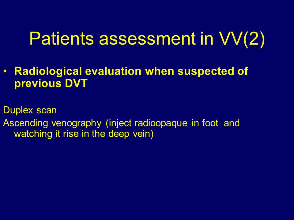Patients assessment in VV(2)