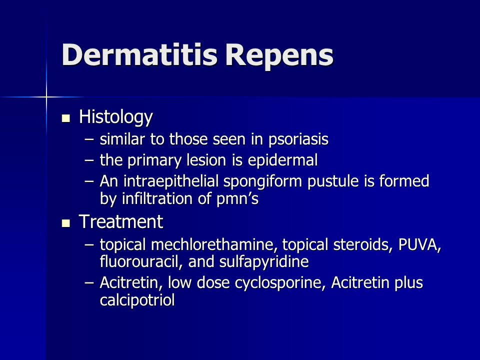 Dermatitis Repens Histology Treatment