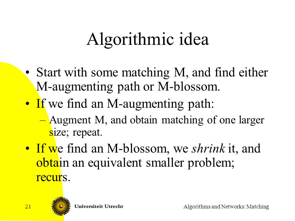 Algorithms and Networks: Matching