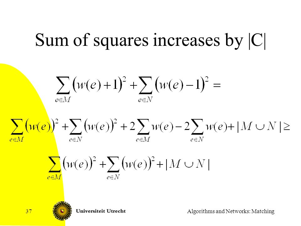Sum of squares increases by |C|