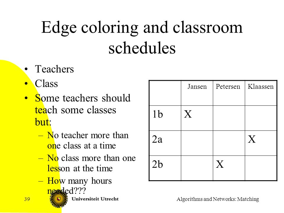 Edge coloring and classroom schedules