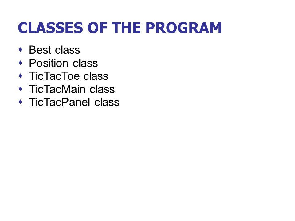 CLASSES OF THE PROGRAM Best class Position class TicTacToe class