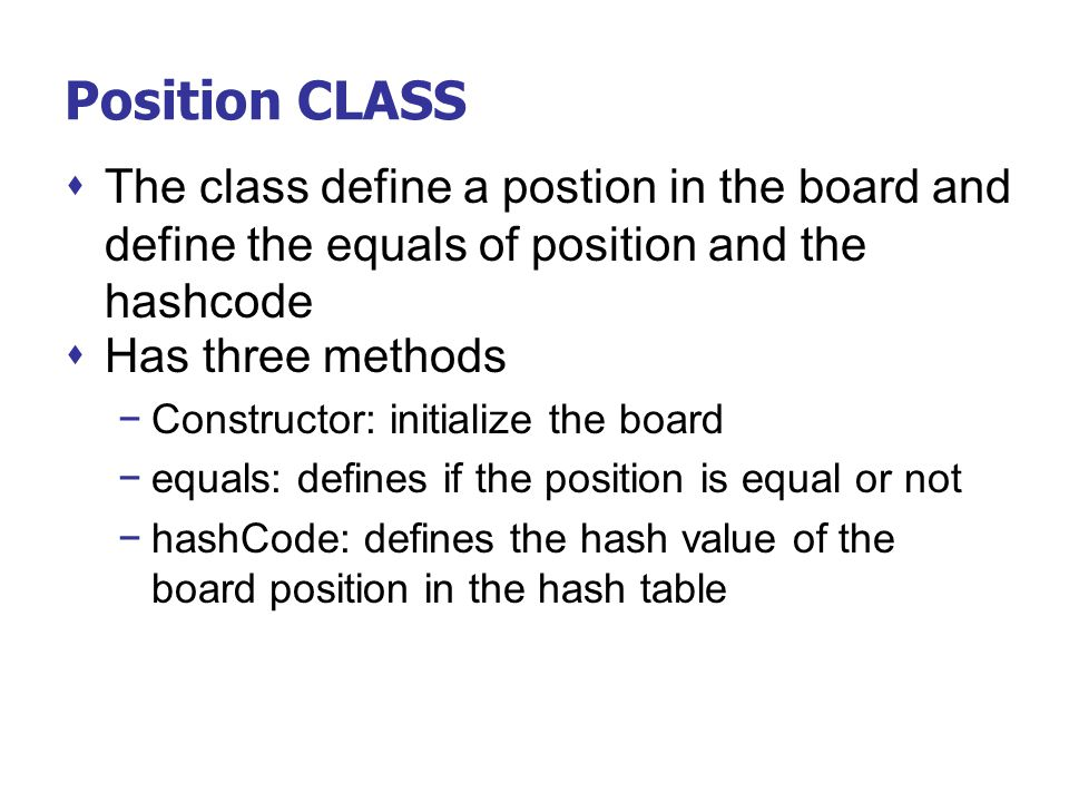 Position CLASS The class define a postion in the board and define the equals of position and the hashcode.