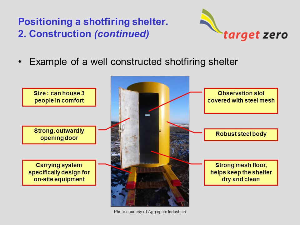 Positioning a shotfiring shelter. 2. Construction (continued)