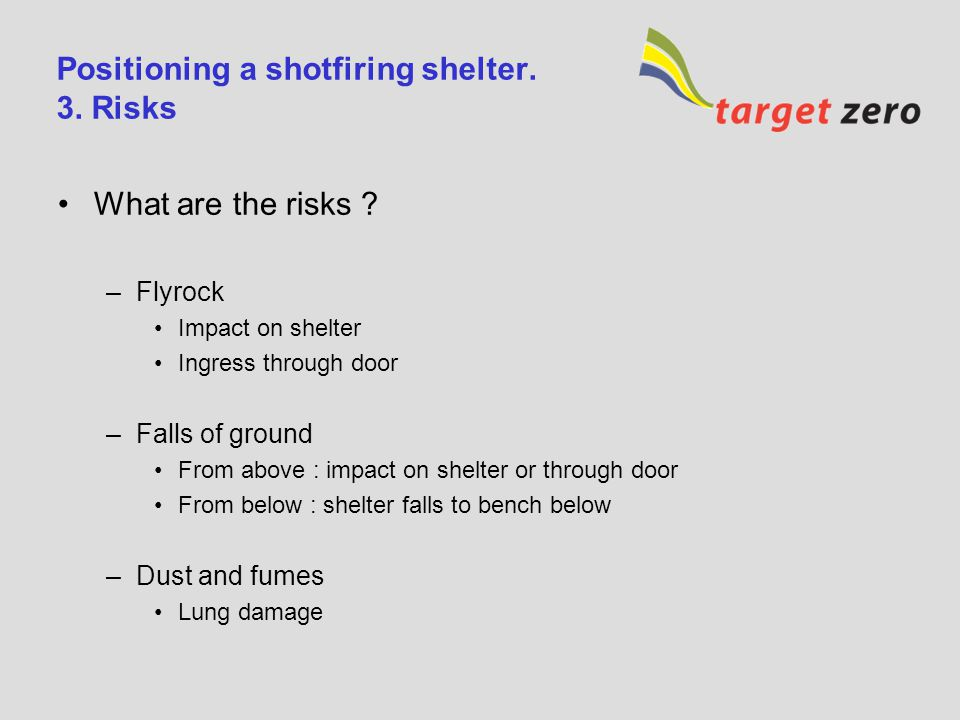 Positioning a shotfiring shelter. 3. Risks