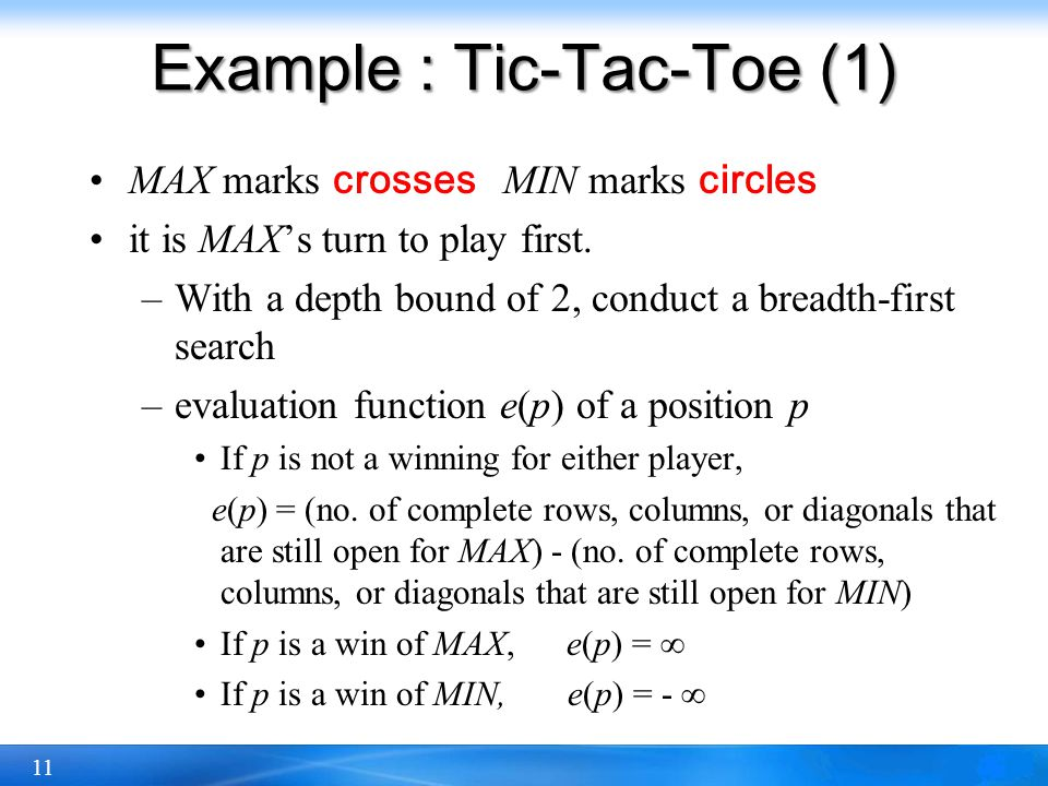 Example : Tic-Tac-Toe (1)
