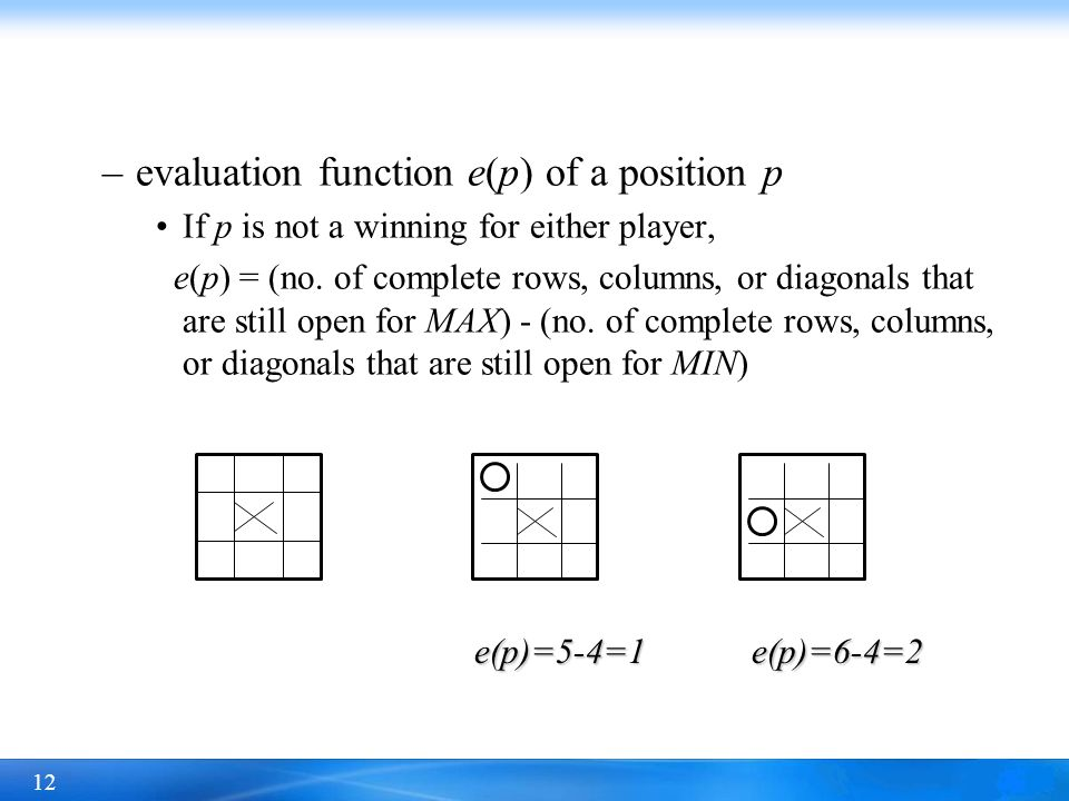 evaluation function e(p) of a position p