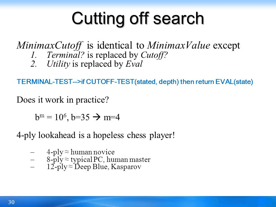 Cutting off search MinimaxCutoff is identical to MinimaxValue except