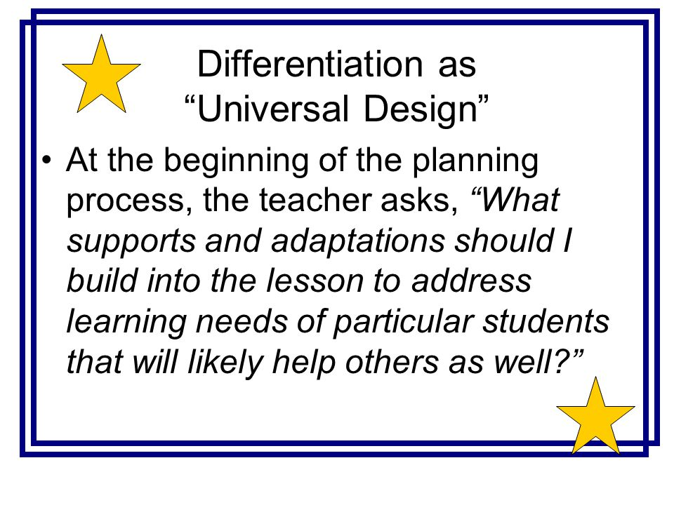 Differentiation as Universal Design