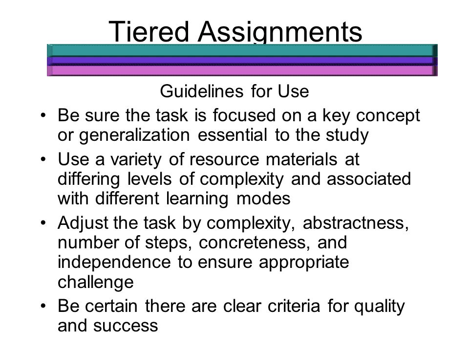 Tiered Assignments Guidelines for Use