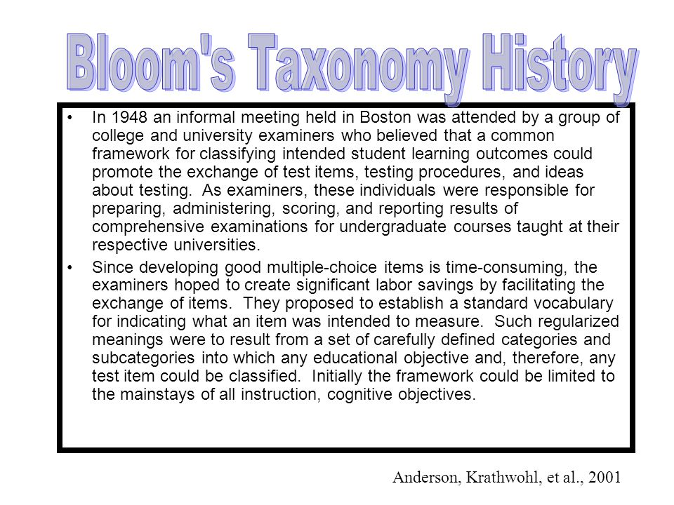 Bloom s Taxonomy History