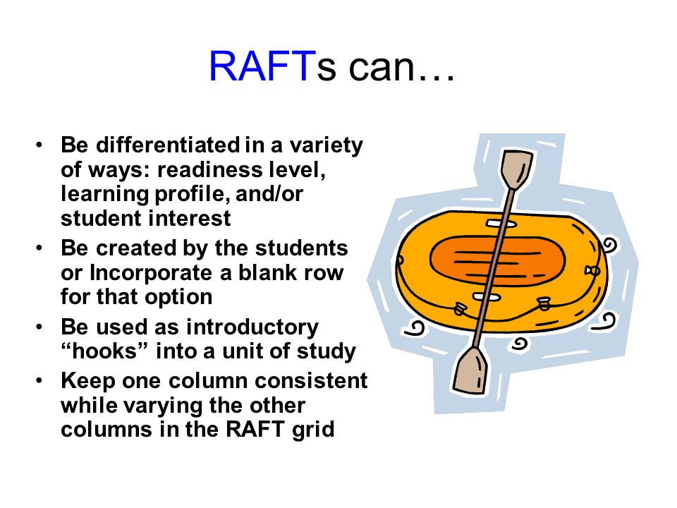 RAFTs can… Be differentiated in a variety of ways: readiness level, learning profile, and/or student interest.