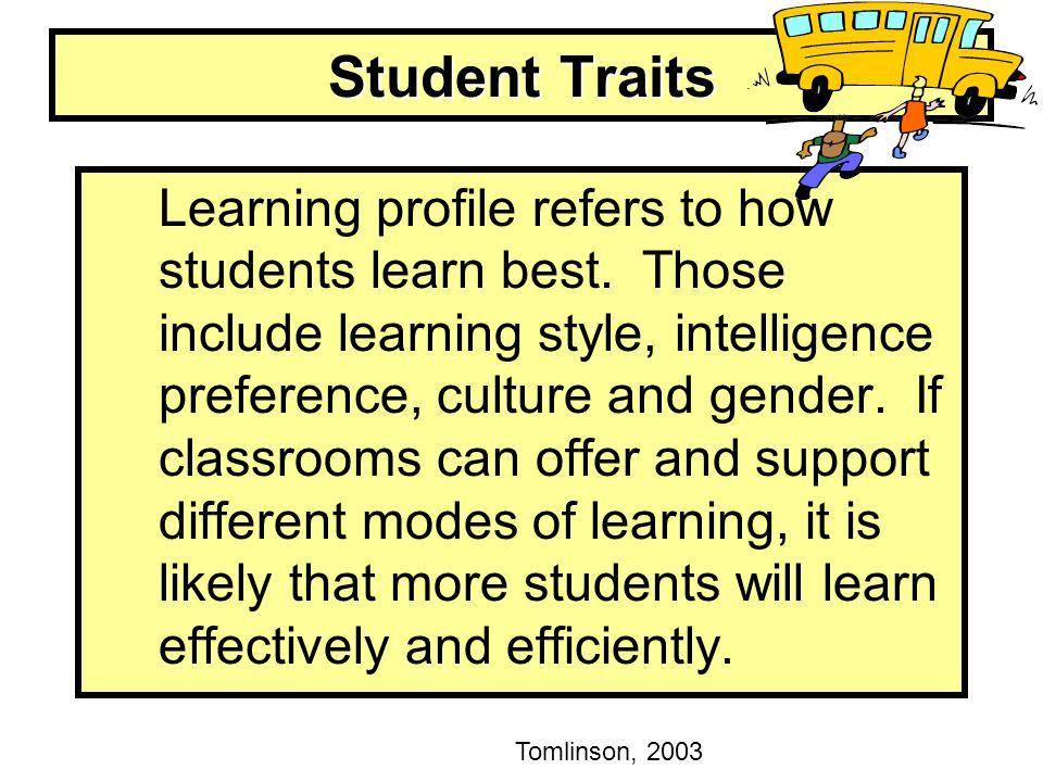 Student Traits Tomlinson, 2003