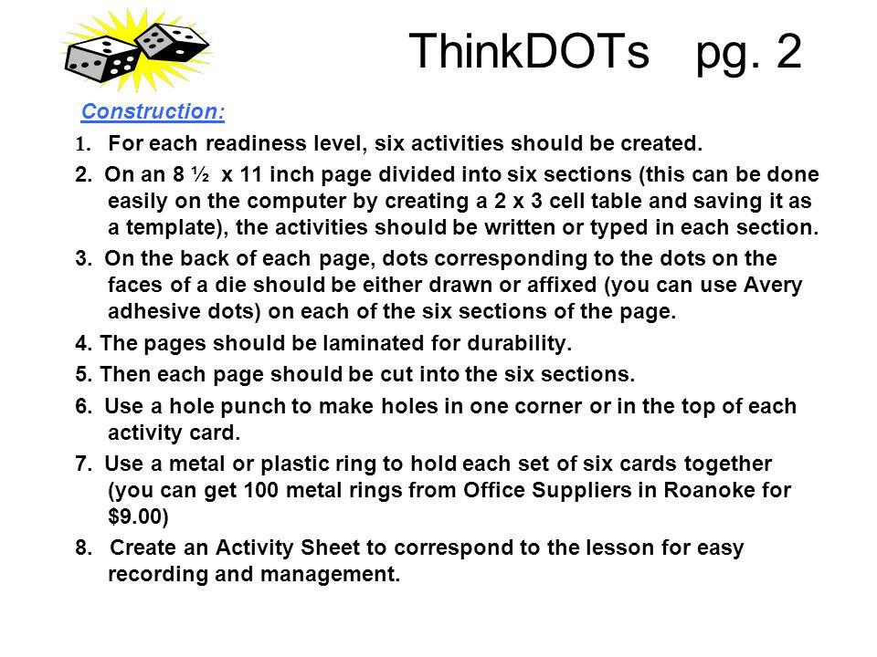 ThinkDOTs pg. 2 Construction: