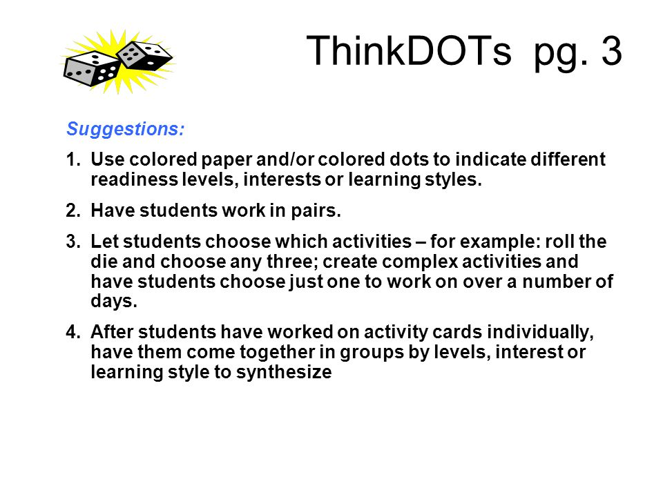 ThinkDOTs pg. 3 Suggestions: