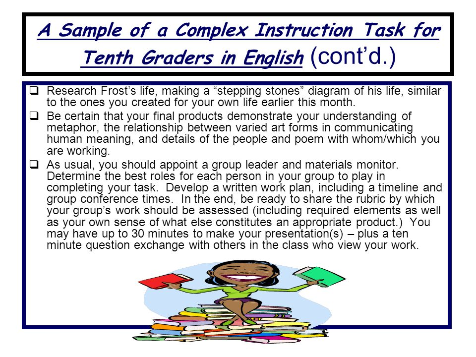 A Sample of a Complex Instruction Task for Tenth Graders in English (cont'd.)