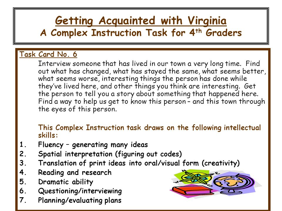 Getting Acquainted with Virginia A Complex Instruction Task for 4th Graders