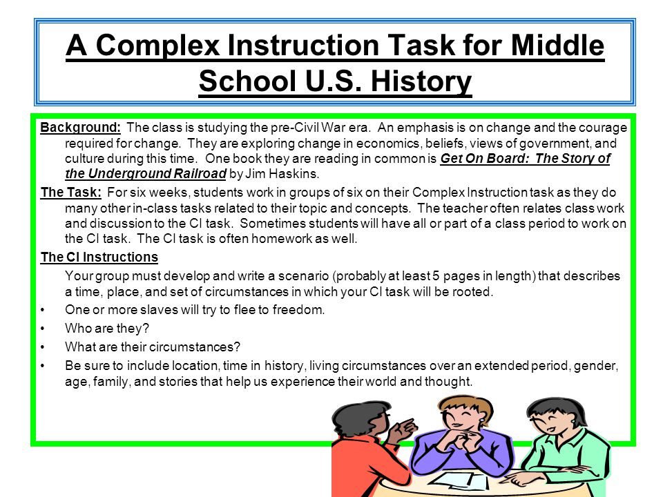 A Complex Instruction Task for Middle School U.S. History