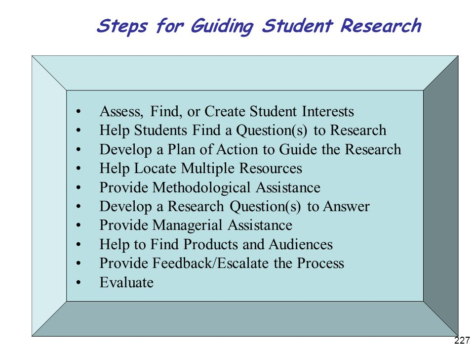 Steps for Guiding Student Research