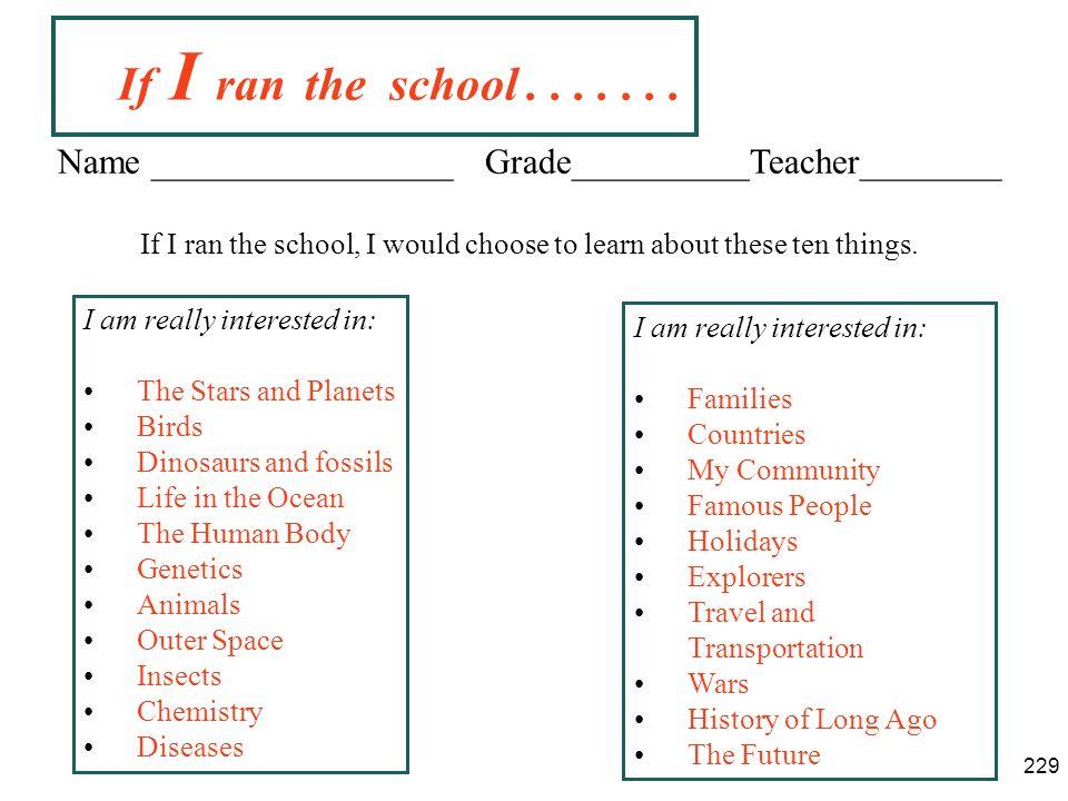 If I ran the school . . . . . . . Name _________________ Grade__________Teacher________.