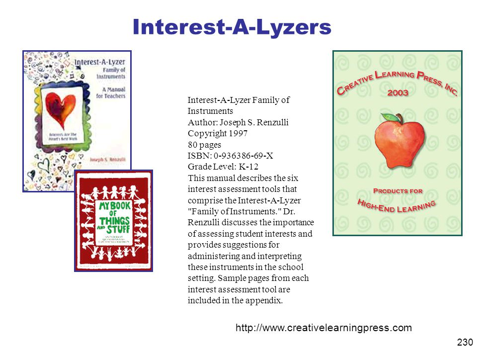 Interest-A-Lyzers http://www.creativelearningpress.com