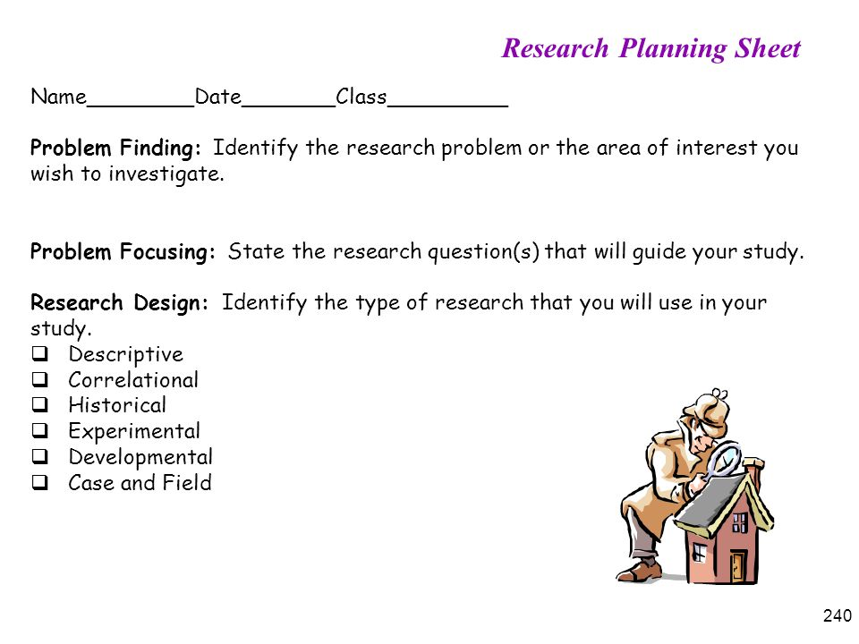 Research Planning Sheet