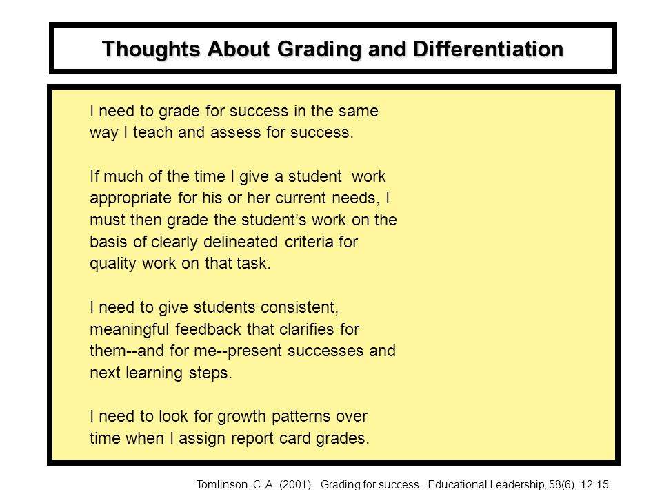 Thoughts About Grading and Differentiation