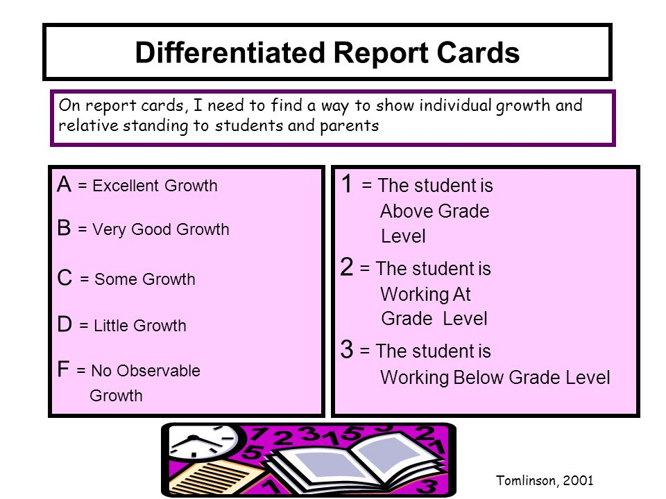 Differentiated Report Cards