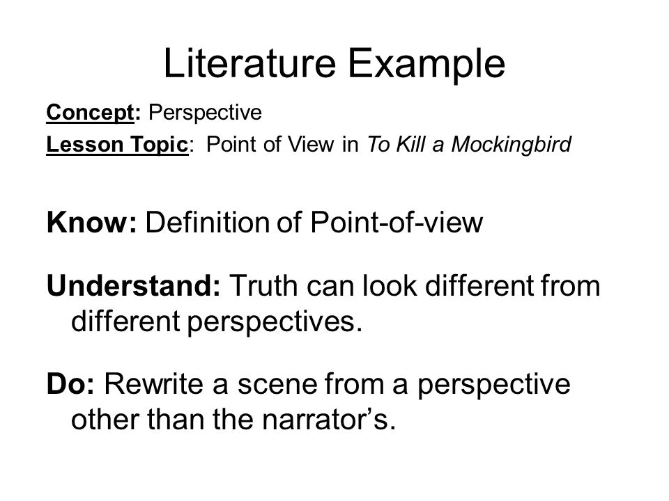 Literature Example Know: Definition of Point-of-view